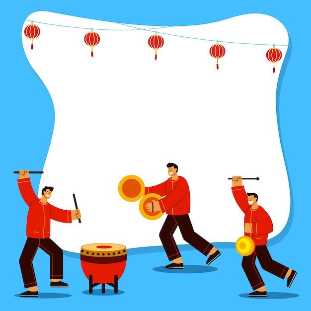 Tocar instrumento musical para comemorar o ano novo chinês ilustração plana Vetor Premium