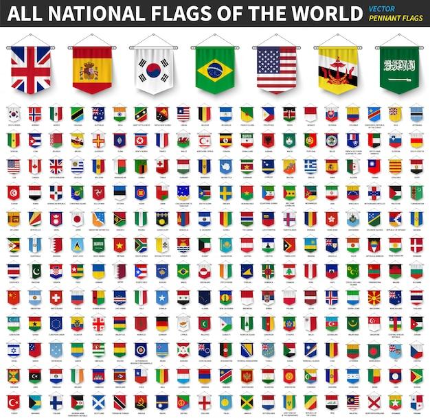 Todas as bandeiras nacionais do mundo. 3d realista galhardete pendurado Vetor Premium