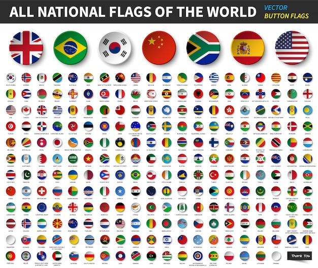 Todas as bandeiras nacionais do mundo. projeto de botão côncavo círculo. vetor de elementos Vetor Premium