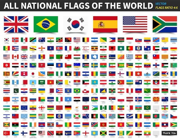 Todas as bandeiras nacionais do mundo. relação 4: 6 design com estilo de papel de nota auto-adesiva flutuante. Vetor Premium