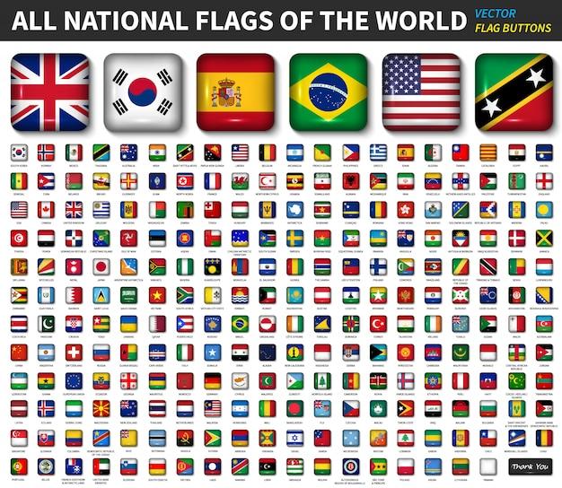 Todas as bandeiras nacionais do mundo Vetor Premium