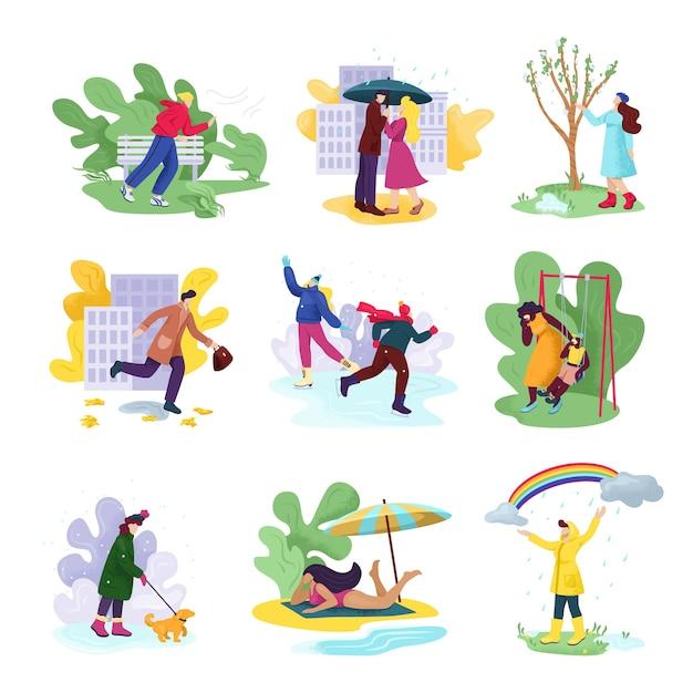 Todas as quatro estações e clima. pessoas com roupas sazonais no outono ventoso, inverno com neve, primavera chuvosa e verão ensolarado. mulher ou homem com guarda-chuva, na praia. Vetor Premium