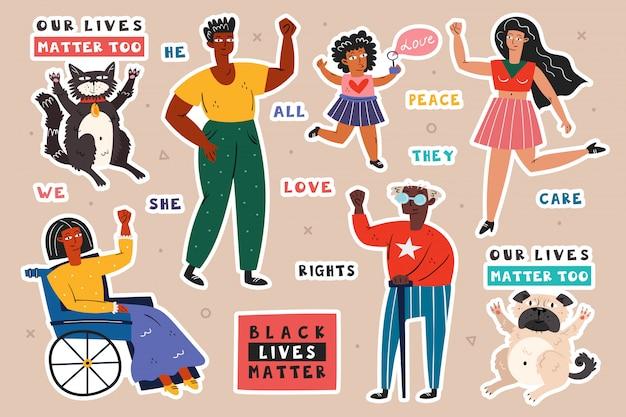Todas as vidas são importantes. pessoas de diferentes raças com as mãos para cima. homem, mulher, criança, inválido. cor da pele escura e clara. sem racismo. posição social ativa. direito dos animais. Vetor Premium