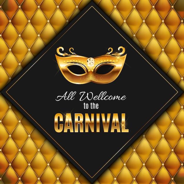 Todos são bem vindos ao carnaval, evento popular no brasil. design com máscara de festa. conceito masquerade. Vetor Premium