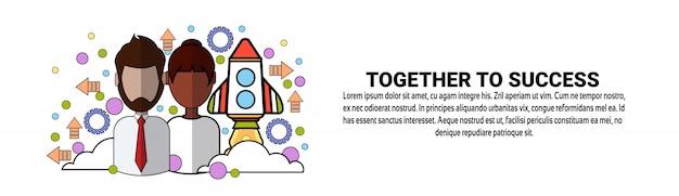 Together to success team conceito de trabalho em equipe de equipe modelo de banner horizontal Vetor Premium