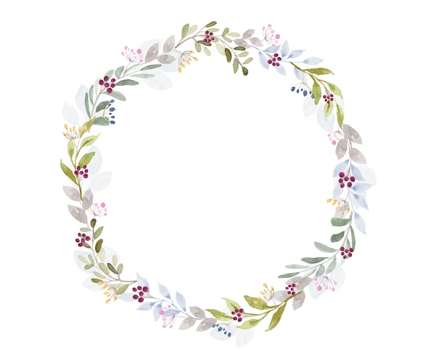 Tom leve aquarela linda moldura redonda flor sobre fundo branco Vetor Premium