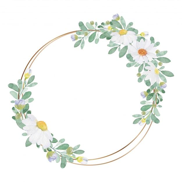 Tom leve linda flor aquarela com moldura dourada fina sobre fundo branco Vetor Premium