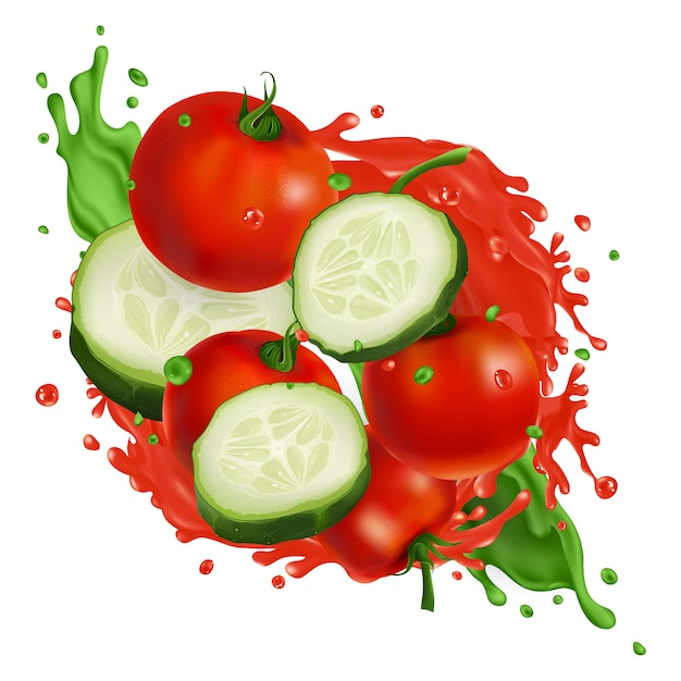 Tomate cereja e fatias de pepino em salpicos de suco de vegetais Vetor Premium