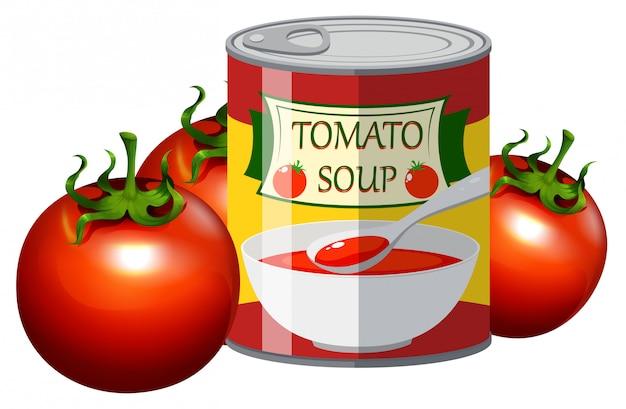 Tomate fresco e sopa de tomate em lata Vetor grátis