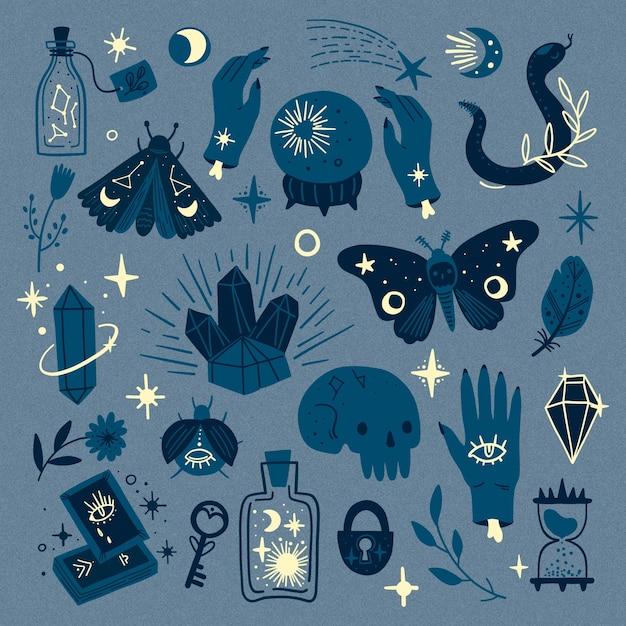 Tons de elementos ocultos esotéricos azuis Vetor grátis