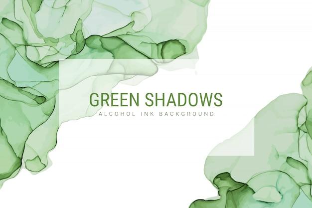 Tons de verde tinta de fundo, tinta molhada, mão desenhada Vetor Premium