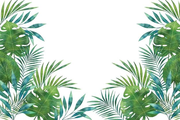 Tons de verde tropical mural mural cópia espaço Vetor grátis
