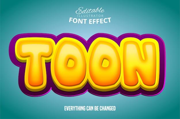 Toon texto, efeito 3d roxo e amarelo fonte editável Vetor Premium
