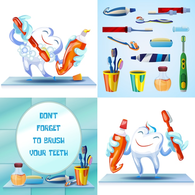 Toothbrush limpeza Vetor Premium