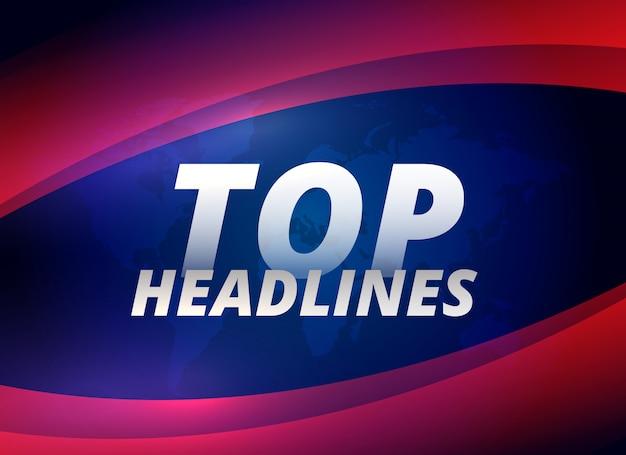 Top manchetes notícias themem fundo Vetor grátis