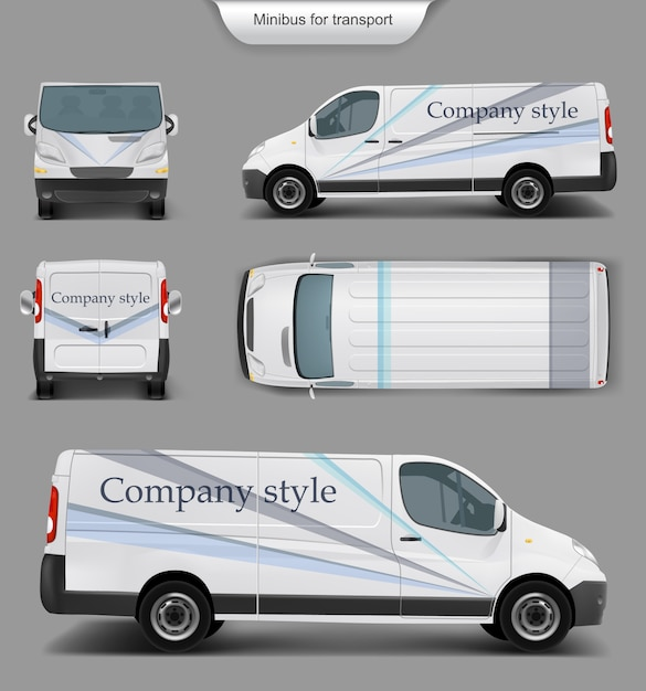Topo de minivan branco. frente, costas, vista lateral Vetor grátis