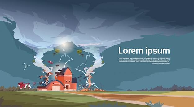 Torção, tornado, destruindo, fazenda, furacão paisagem, de, tempestade, turboéter, em, campo, desastre natural, conceito Vetor Premium