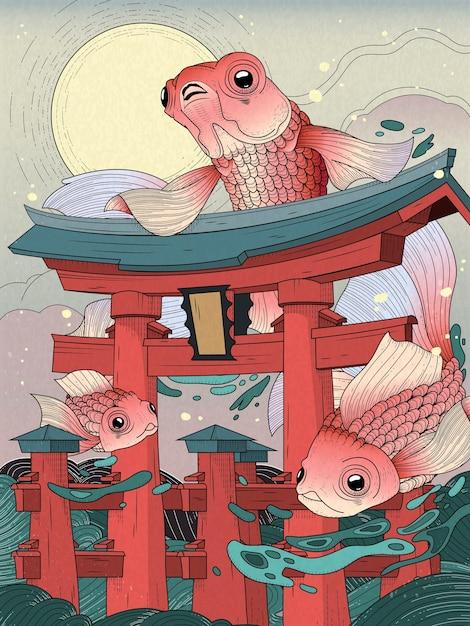 Torii japoneses no mar; com lua e peixes dourados Vetor Premium