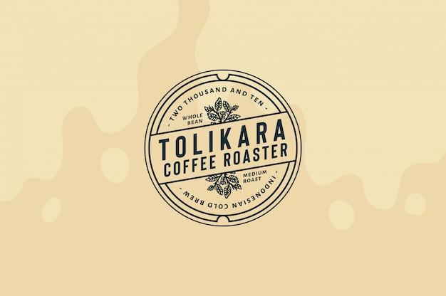Torik coffee roaster logo template texto, cor e contorno totalmente editáveis Vetor Premium