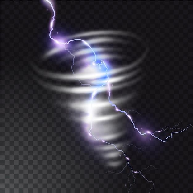 Tornado com ilustração de relâmpago de raio realista luz flash no furacão twister. vórtice de ciclone de vento em tempo de tempestade. Vetor Premium