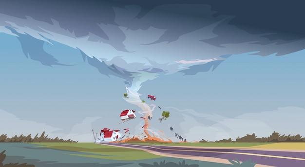 Tornado em paisagem de furacão de campo de tempestade tornado de pluvial de tempestade em campo ... Vetor Premium