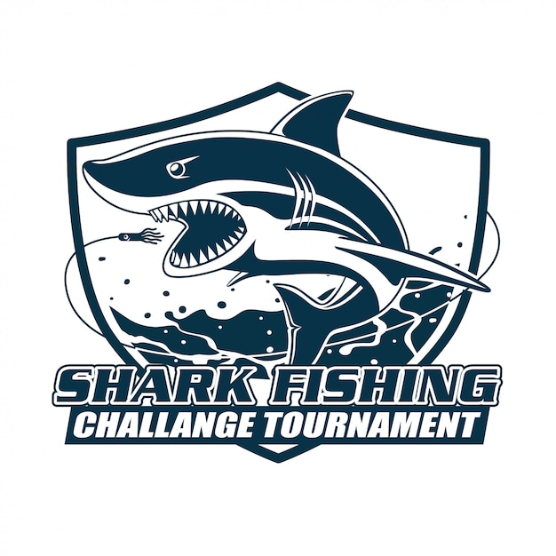 Torneio de desafio de pesca de tubarão Vetor Premium