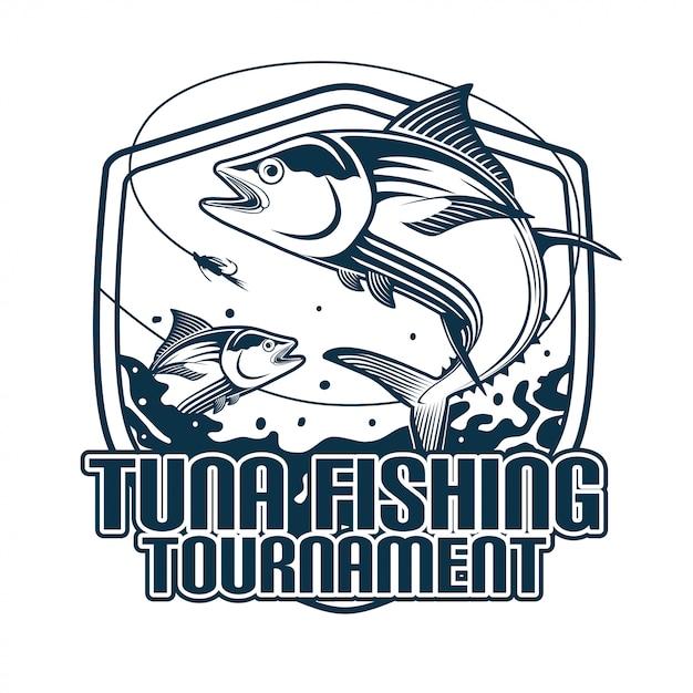 Torneio de pesca de atum Vetor Premium