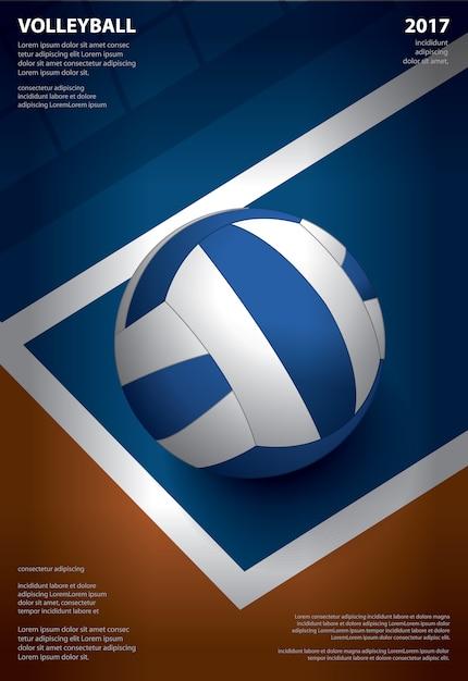 Torneio de voleibol cartaz modelo design ilustração em vetor Vetor Premium