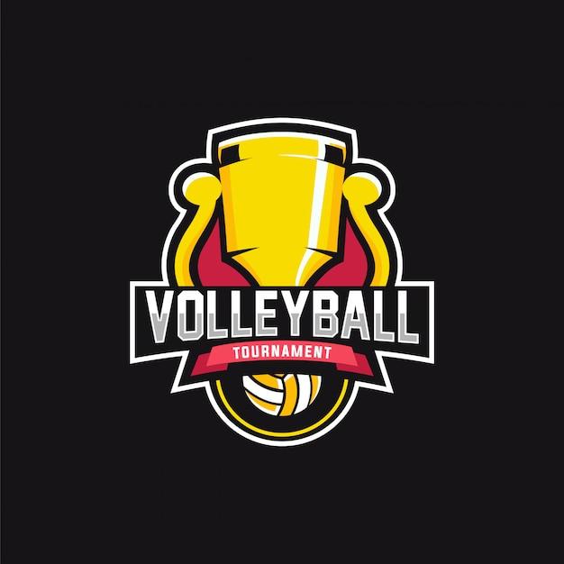 Torneio de voleibol logo Vetor Premium