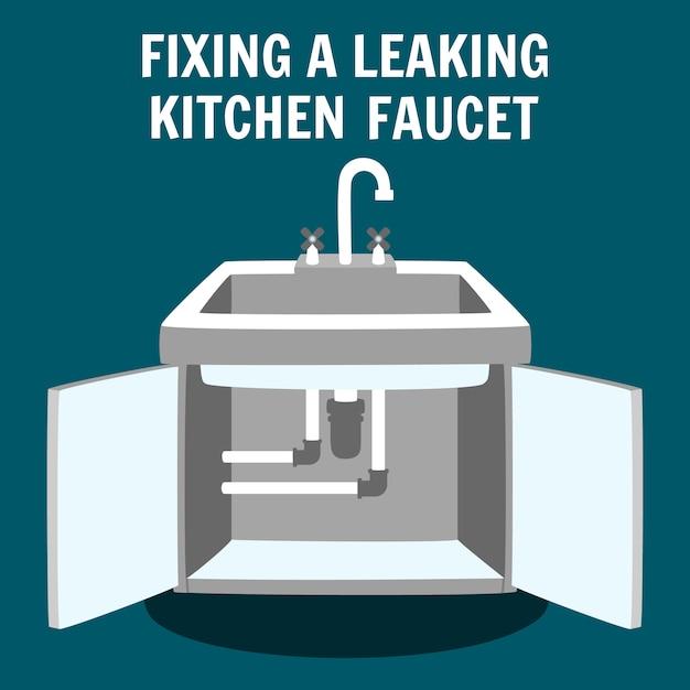 Torneira de cozinha com vazamento de fixação Vetor Premium