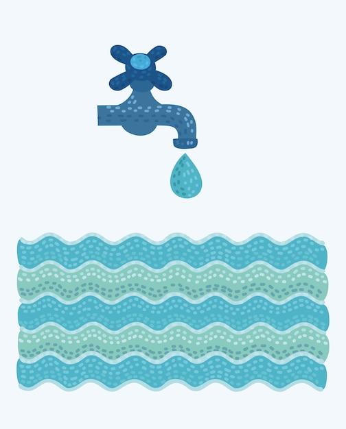 Torneira e água Vetor Premium