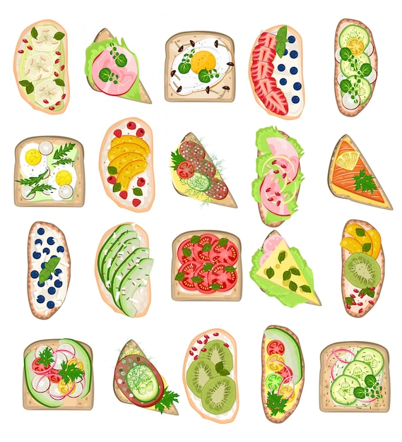 Torrada saudável comida torrada com pão queijo legumes ovo lanche para café da manhã conjunto de ilustração de delicioso sanduíche com tomate fatiado e salsichas cortadas frutas isoladas no fundo branco Vetor Premium