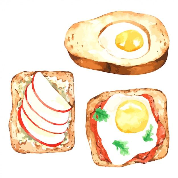 Torradas de pão com sanduíche aquarela pequeno-almoço conjunto com ovo e maçã Vetor Premium