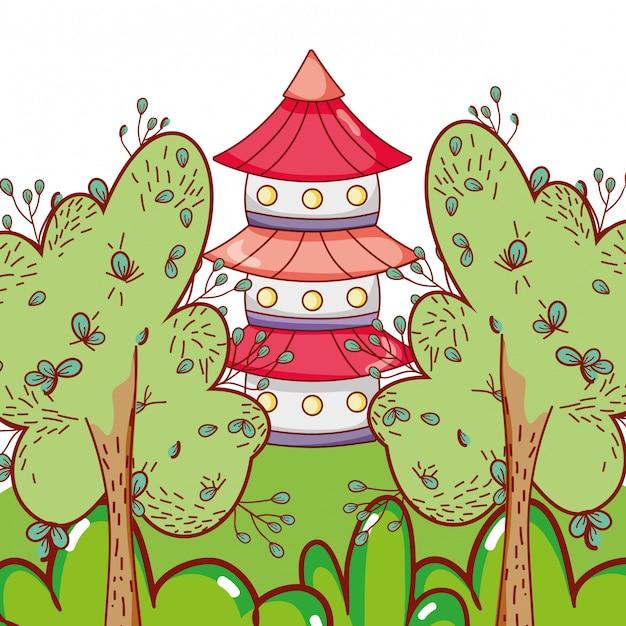 Torre astiana na natureza Vetor Premium
