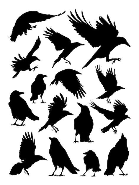 Torre, corvo, silhueta de corvo Vetor Premium
