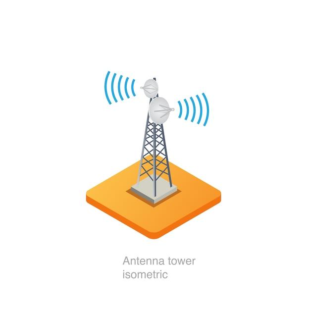 Torre de antena isométrica Vetor Premium
