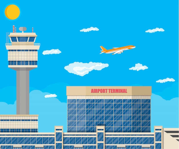 Torre de controle do aeroporto, edifício terminal Vetor Premium
