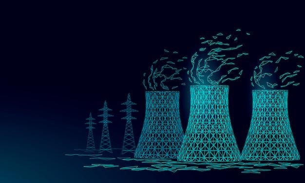Torre de resfriamento de usina nuclear baixa poli. render ecologia poluição salvar planeta ambiente conceito triângulo poligonal. reator nuclear radioativo Vetor Premium