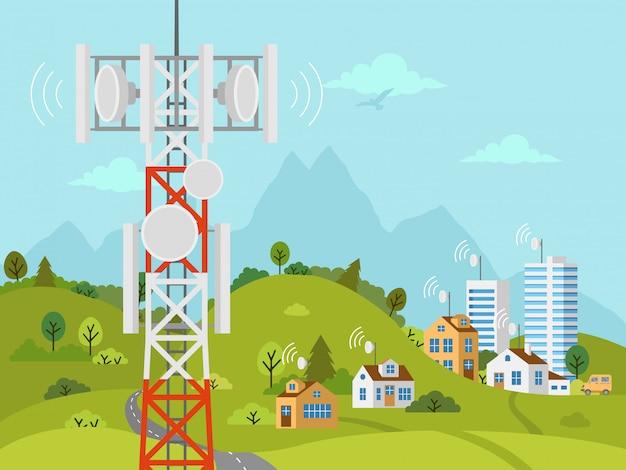 Torre de transmissão celular na frente da paisagem Vetor Premium