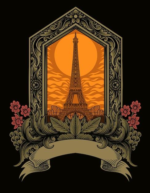 Torre eiffel com ilustração de enfeites vintage Vetor Premium