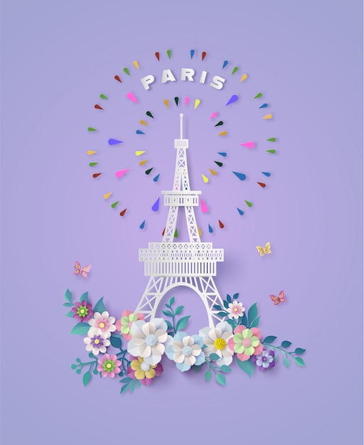 Torre eiffel em paris, frança. estilo de corte de papel. Vetor Premium