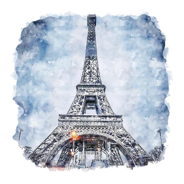 Torre eiffel paris frança esboço em aquarela. Vetor Premium