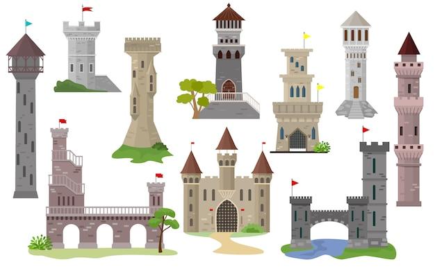 Torre medieval de conto de fadas dos desenhos animados castelo vector do edifício do palácio de fantasia Vetor Premium
