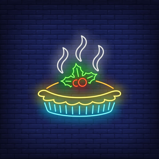 Torta quente de néon Vetor grátis