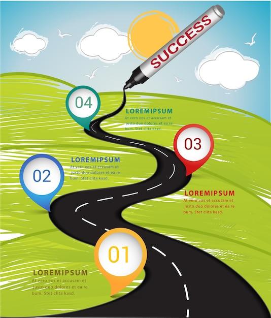 Tosucess mágico da estrada do desenho da pena infographic. Vetor Premium
