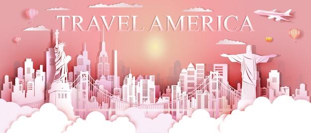 Tour marcos dos estados unidos e américa do sul famoso monumento arquitetura. Vetor Premium