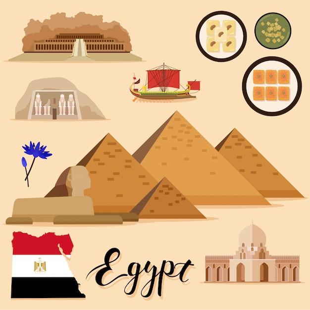 Tourist egypt travel coleção definida Vetor Premium