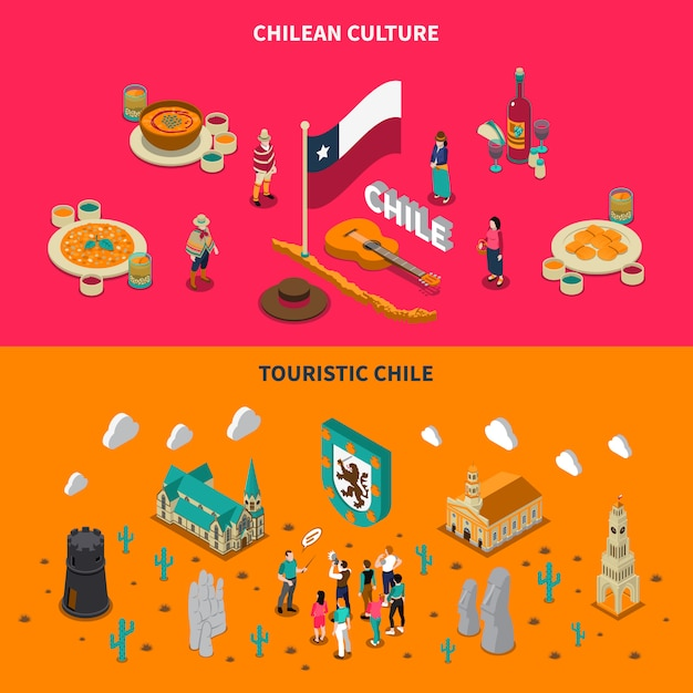 Touristic chile 2 isométricas horizontais banners Vetor grátis