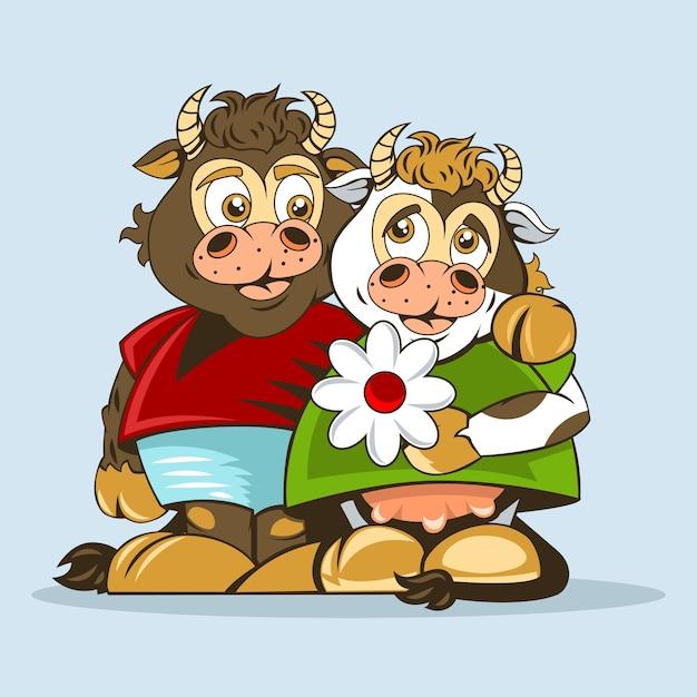 Touro e vaca amantes são desenhados em estilo de animação. Vetor Premium