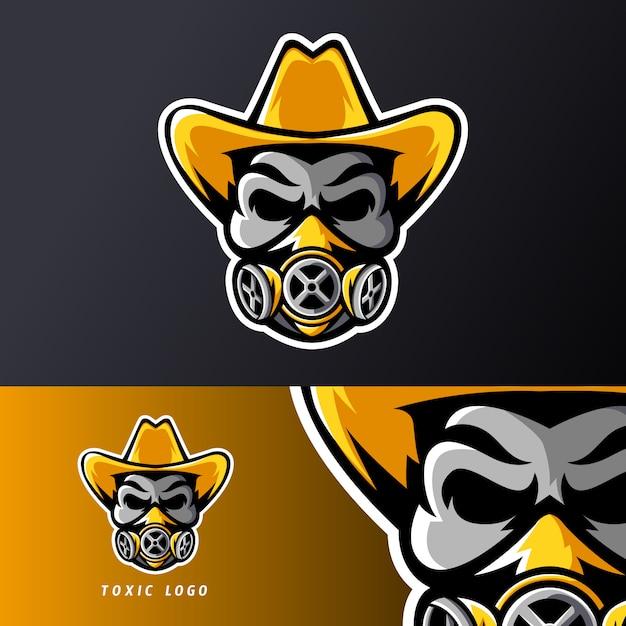 Tóxico caveira máscara chapéu esporte esport jogos mascote logotipo modelo, para equipe de flâmula Vetor Premium